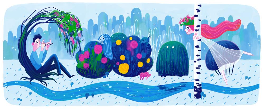 Forest song , a Google doodle featuring Lesya Ukrainka's poem
