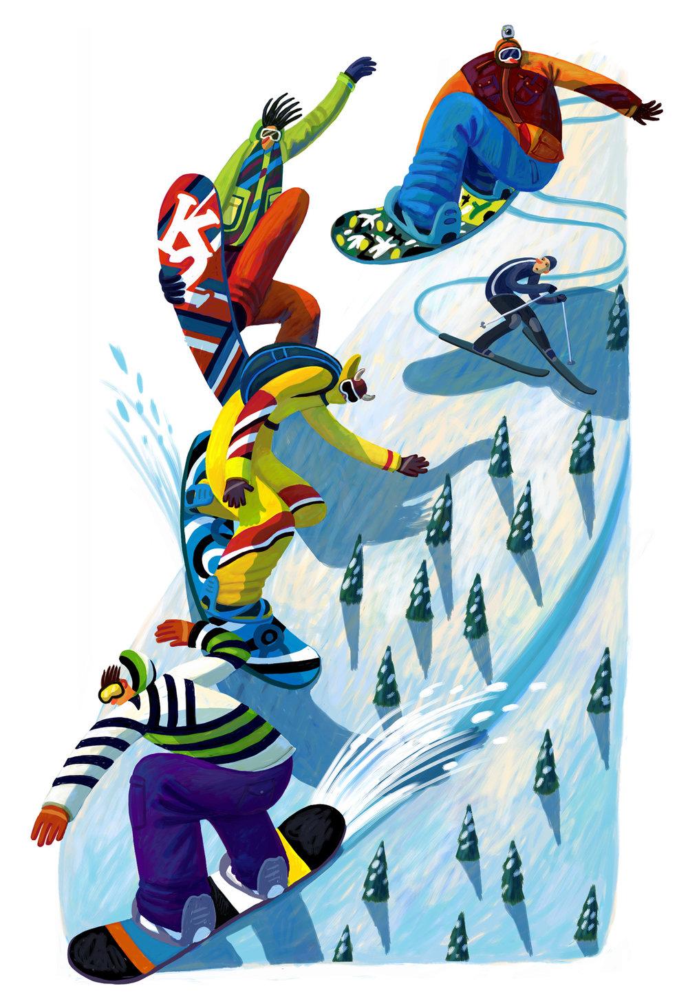 Snowboarders vs skier