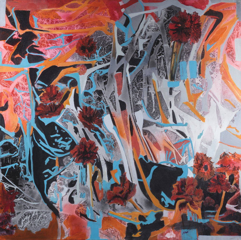 "Find the Flowers , acrylic on canvas, 36"" x 36"""