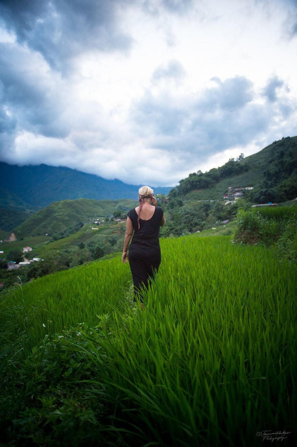Balancing on the terraced rice fields.