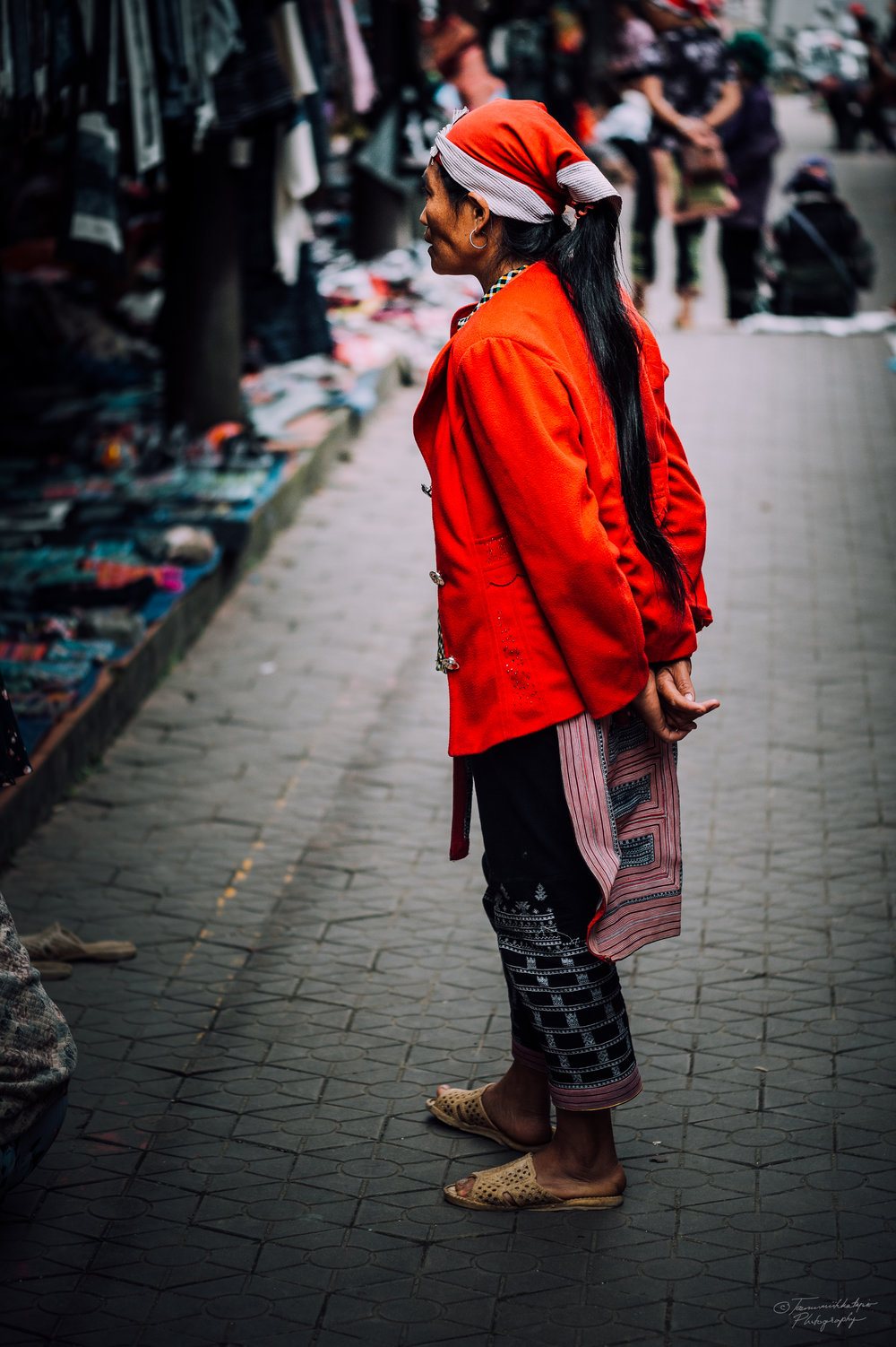 A Red Dao woman in the market place in Sapa town.