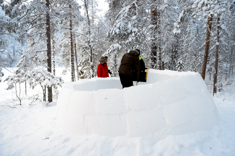 These guys were building an igloo.