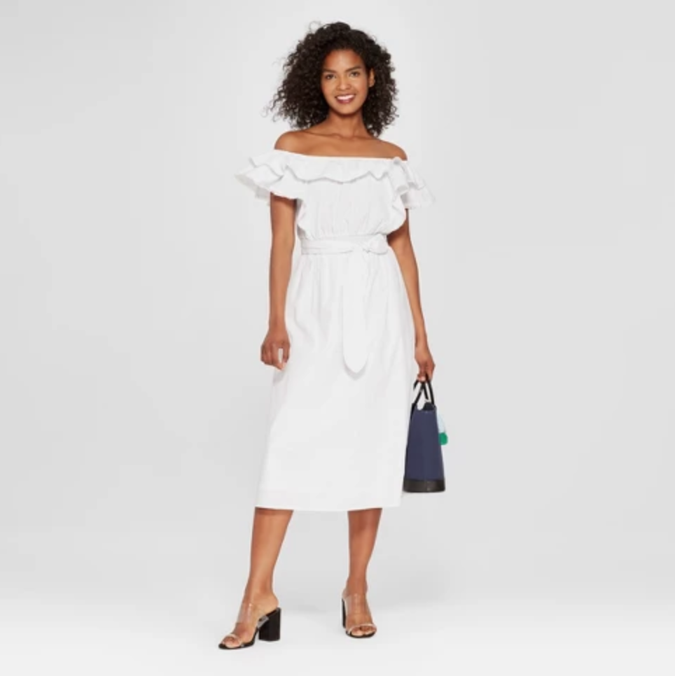 Tie Bardot Midi Dress - $34.99This is a beautiful classic that comes in black or white, and quite honestly, we think both would be great additions to our wardrobes.
