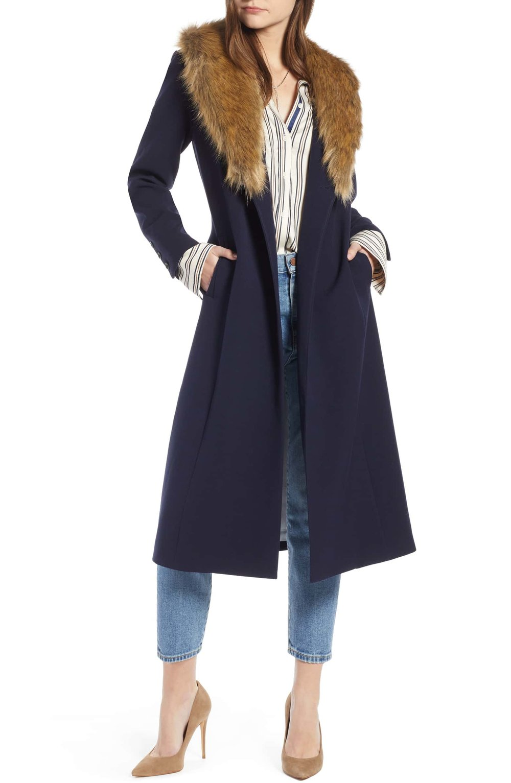 Faux Fur Collar Midi Coat - $159 | Something Navy Vegan Wool-Free + Vegan Faux Fur