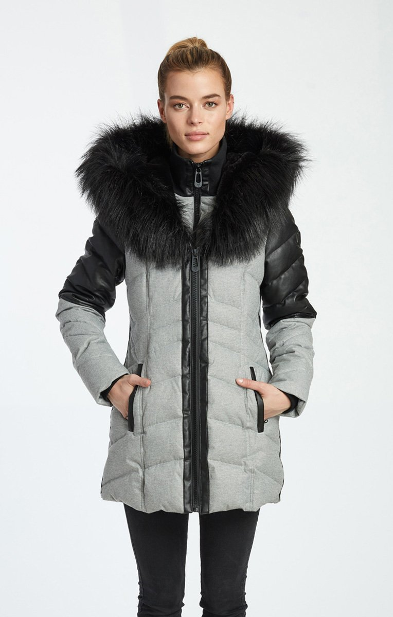 VioletMid-Length Quilted Jacket - $239.00 | Vegan Winter Coat by Noize.