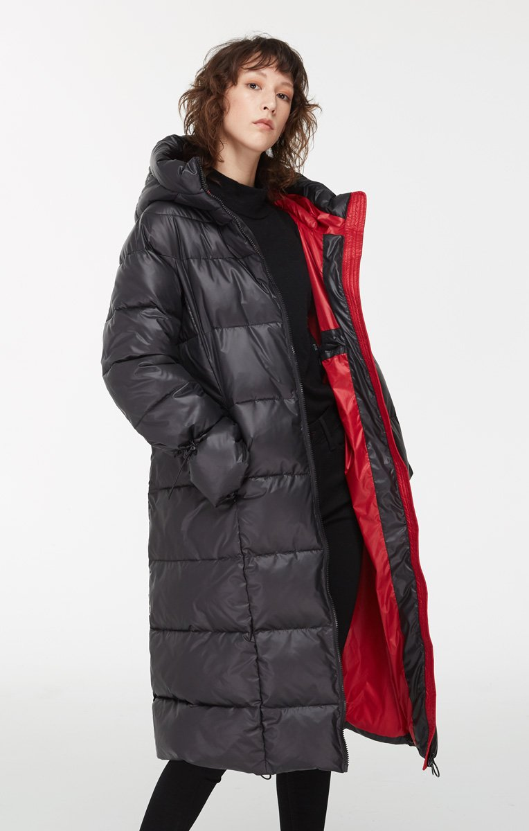 Katy Long Puffer Jacket with Contrast Lining - $189.00 | Vegan Puffer Coat by Noize.