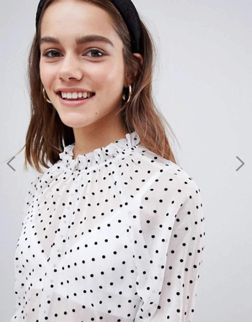 Y.A.S Petite polka dot spot sheer high neck blouse - $64 | 24.50