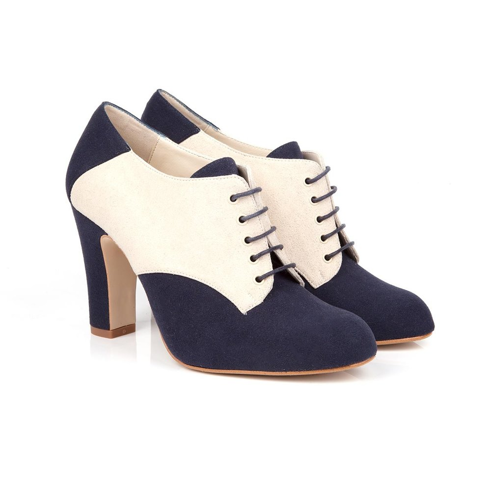 GAIA BLUE FAUX SUEDE LACE UP VEGAN HEELS - $135