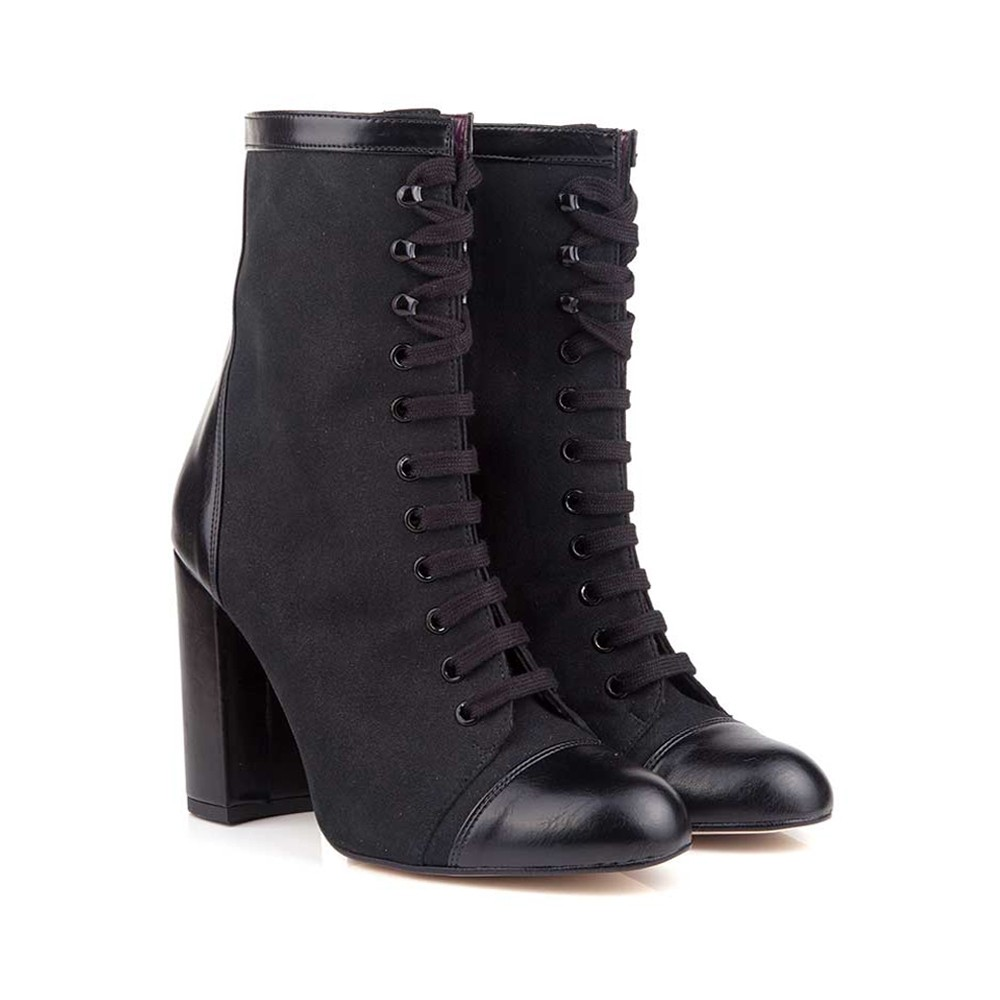 SILKA BLACK LACE-UP HIGH HEEL VEGAN BOOTS - $210 | $170 On Sale Vegan