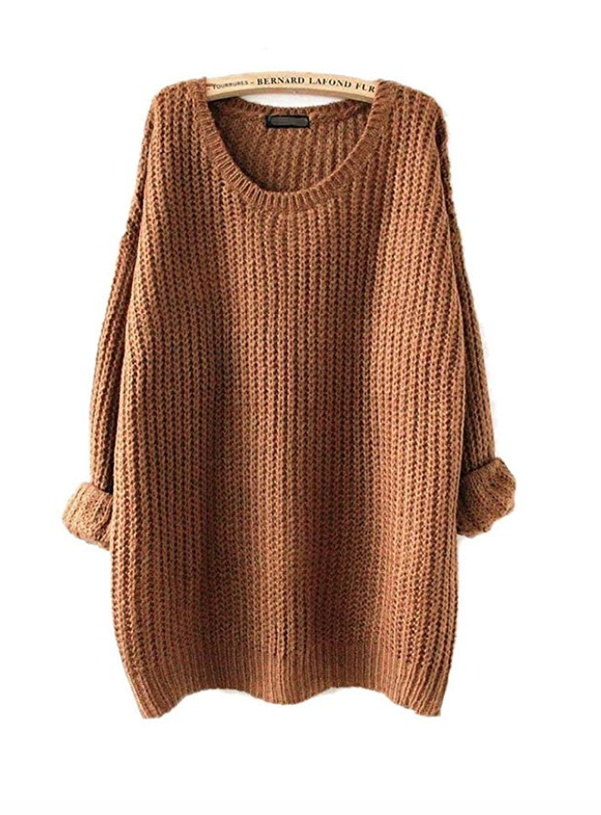 Oversized Knitted Crewneck Sweater (Brown) - $22.97