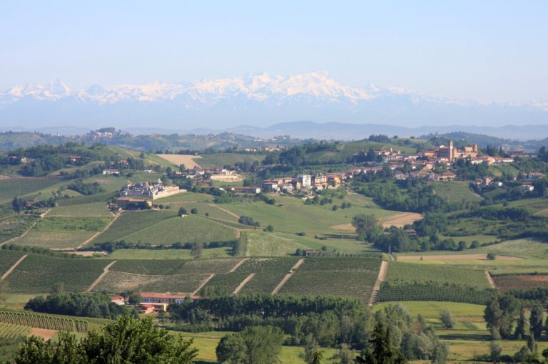 Matterhorn, Monte Rosa, and Castelnuovo Calcea in Piedmont's Wine Region. Photo from    Gerald Smith at Wikipedia   .