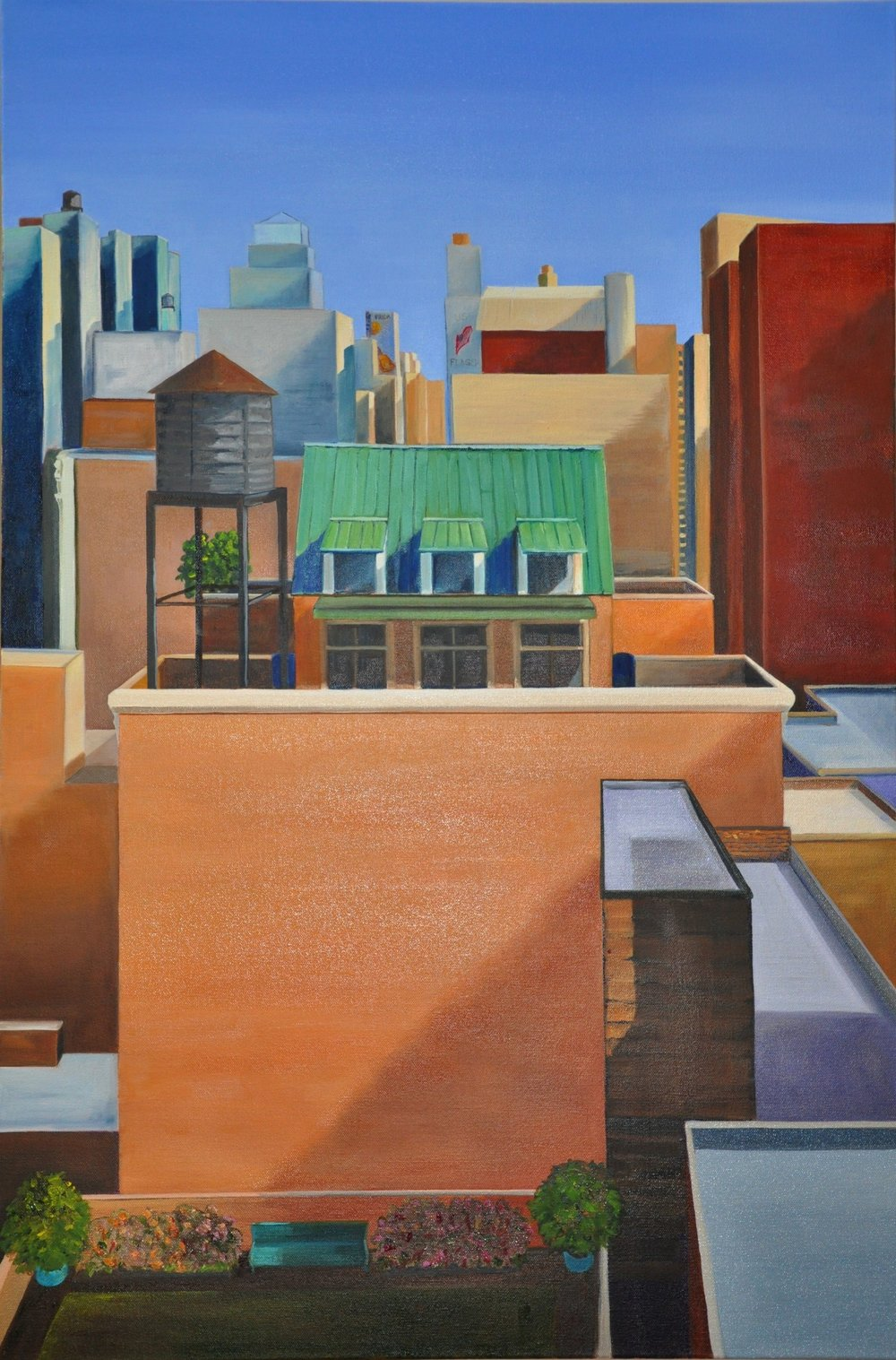 Rooftops  2018 For pricing inquire with Artist  24 x 36 x 2 inches  Oil on Gallery wrapped canvas- clean edges, ready to hang as-is!