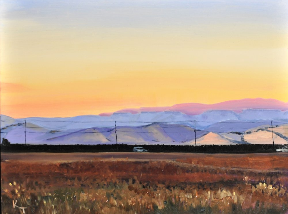 Copper Road at Dawn  2018 $400  9 in x 12 in  Oil on Panel, framed  The best reason to get up in the morning is to go walk with a friend - and the second best reason is to catch this sight.
