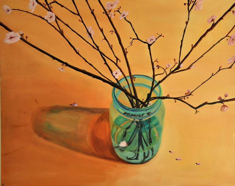 Jar & Blossoms  2018 $800  24 in x 30 in x 1.5 in  Oil on Canvas  I am obsessed with blue mason jars. I am obsessed with drawing perfect mason jars - free hand.