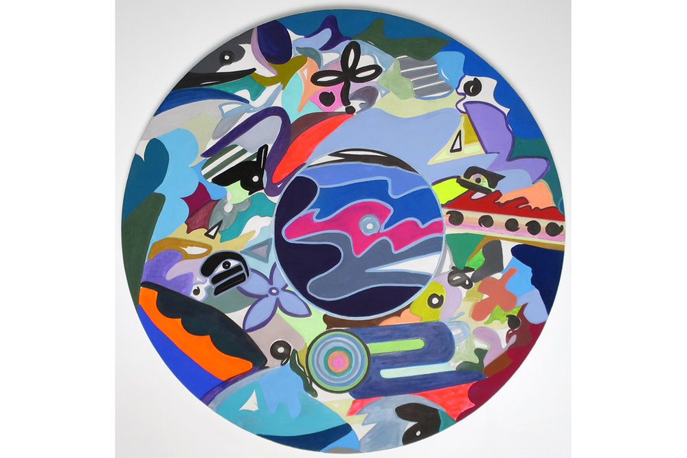David Gaither  Global Iconographies , 2017 Acrylic, gouache, composite paints and solid paint markers on panel 24 inch diameter (61 cm diameter)