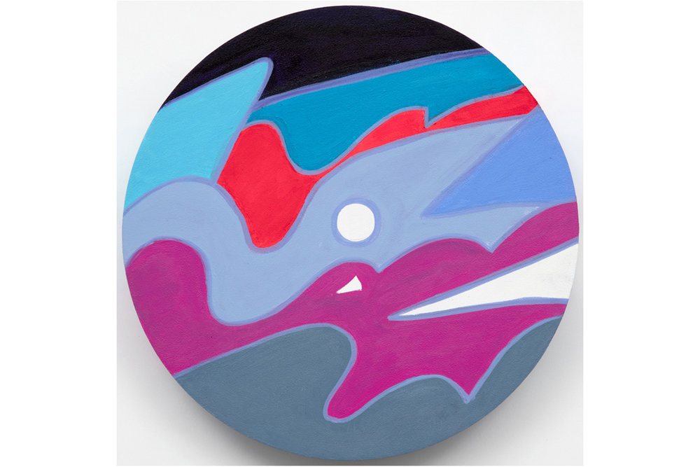 David Gaither  The Colourwheel/Colourdisc Series: Construct #5,  2017 Acrylic, gouache, composite and solid paint markers on panel 12 inch diameter (30.5 cm diameter)