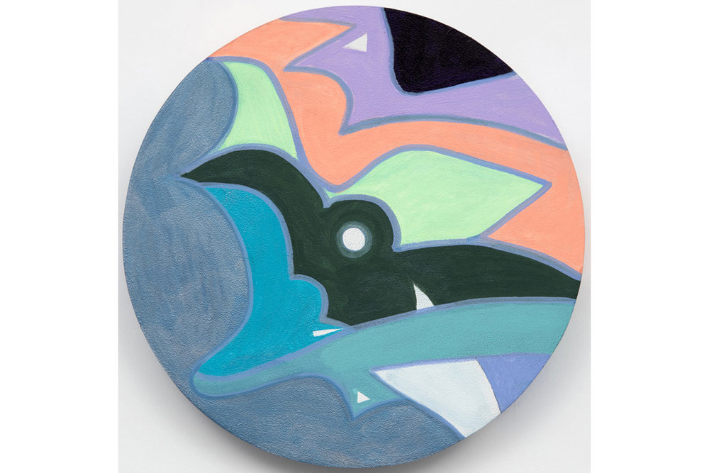 David Gaither  The Colourwheel/Colourdisc Series: Construct #3,  2017 Acrylic, gouache, composite and solid paint markers on panel 9 inch diameter (22.9 cm diameter)