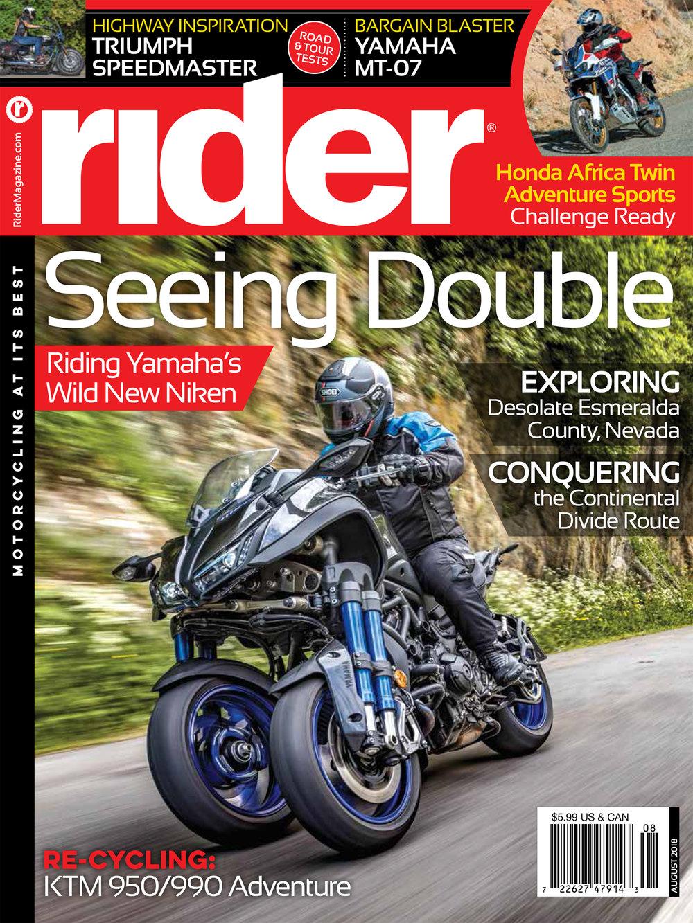 COVER: RIDER MAGAZINE AUGUST 2018