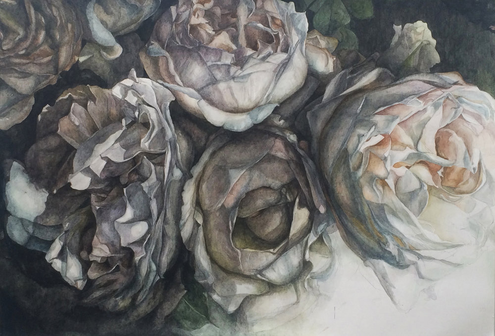 "Flowers No. 3 , watercolor and pencil on paper, 32"" x 48"" (2015), private collection"