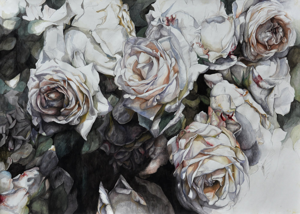 "Flowers No. 6 , watercolor and pencil on paper, 32"" x 48"" (2016)"
