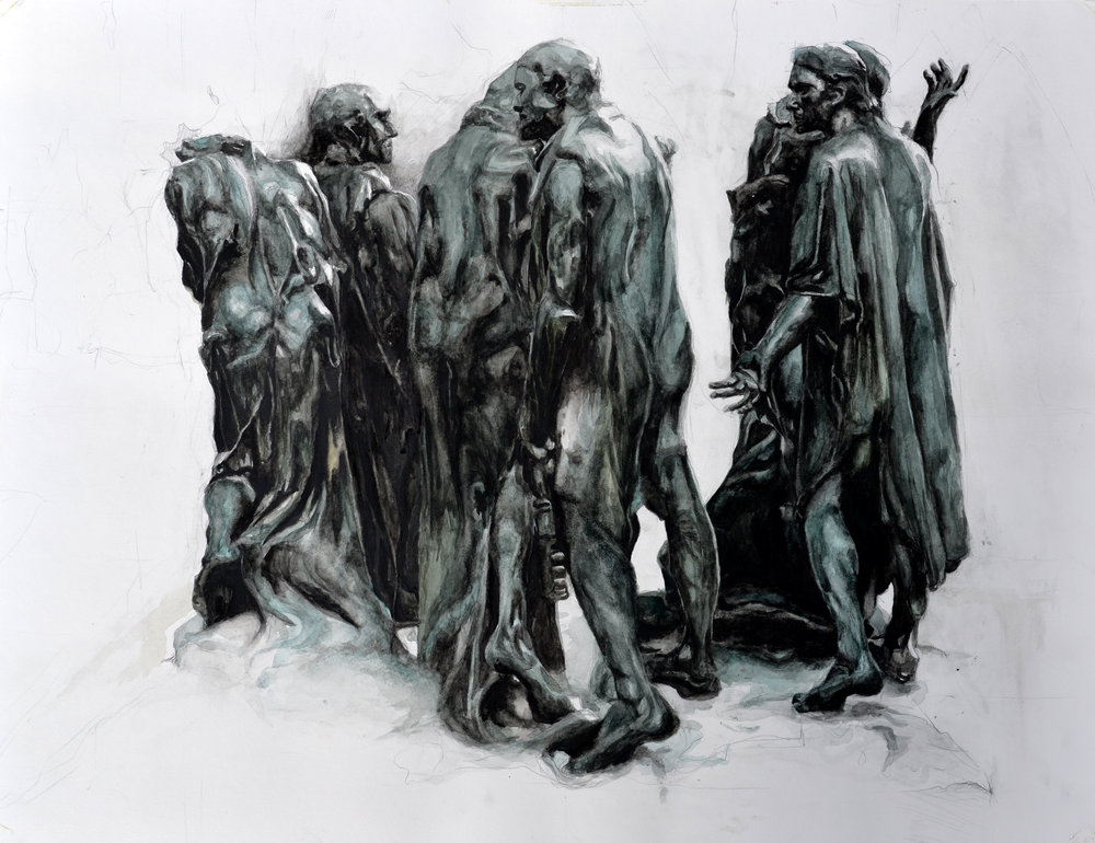 "Auguste Rodin's  The Burghers of Calais  (1884-1889), drawn from the bronze cast at the Rodin Museum in Paris, France. Watercolor and pencil on paper, 23"" x 32"" (2013)"