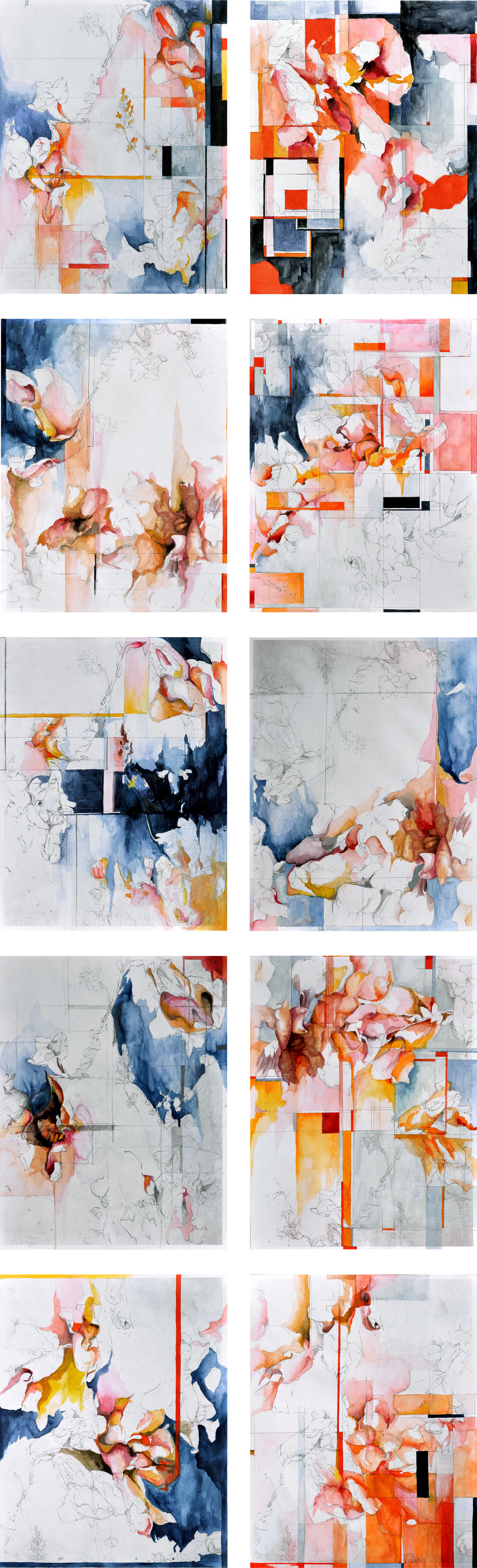 """The Last Judgement No. 1, 2, 3, 4, 5, 6, 7, 9, 10, 11 , pencil and watercolor on partial prints of pencil drawing, 8.5"""" x 11"""" (2018)"""