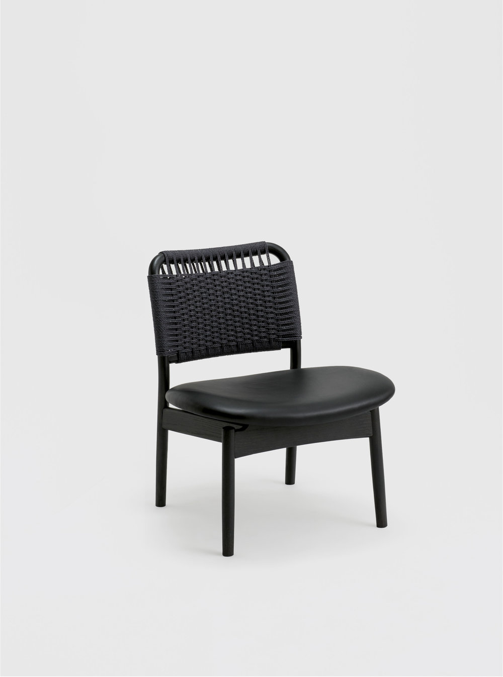 Ariake Saga Low Chair - Sumi Ash/Leather Seat
