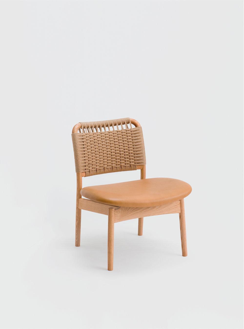 Ariake Saga Low Chair - Oak/Leather Seat