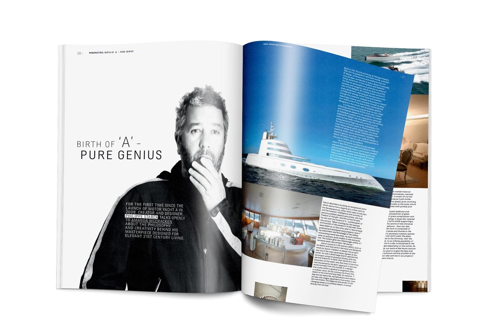 philippe starck superyacht article in perspective magazine.