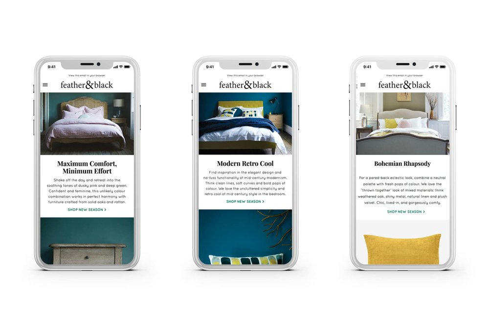 'new season' responsive emails highlighting each story and hero products