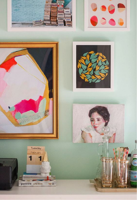 Gallery Wall // Design Recipe - Start with a Portrait (personal or a favored pet or animal) then add:1 Photo1 Oil or Acrylic1 Graphic or Geometric Print1 LandscapeTie all items together with a common denominator by color palette and/or artful style