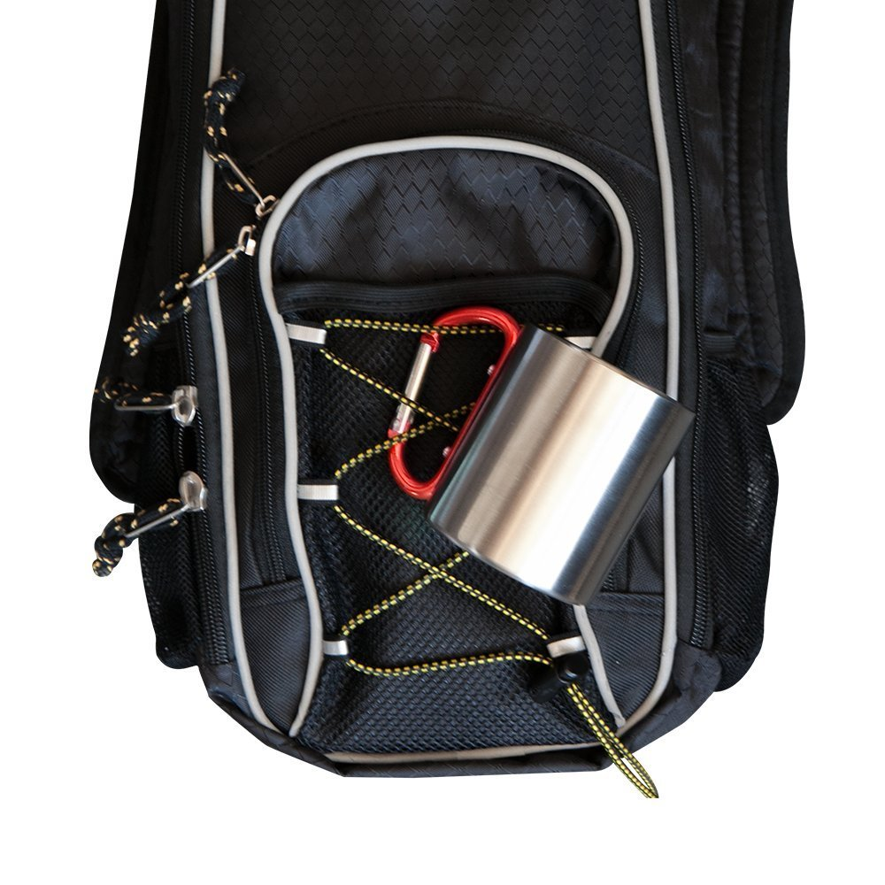 Carry Your Cup - A cup with a handle is handy to be able to fasten to your belt or backpack. Usually a leather strap or carabiner can connect your cup to your bag.A Keychain Ring and some Gaffer tape can also do the trick.