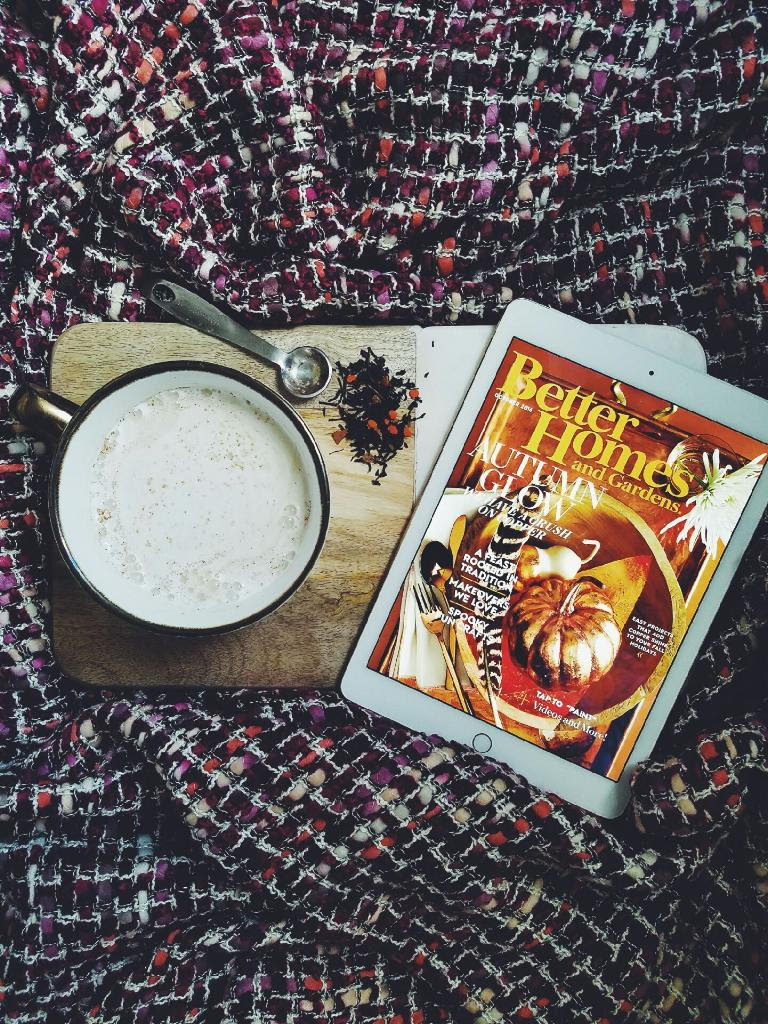 cozy fall blanket and pumpkin chai latte
