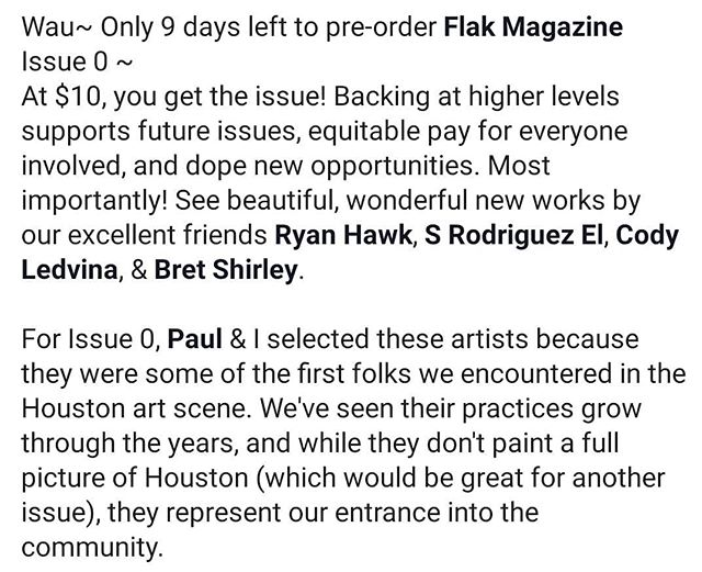 bit.ly/flakzero #linkinbio 9 DAYS LEFT to preorder Issue 0! Here's a message from Michael McFadden about the intent behind the selection of @ryanthawk, @blve.azvl, @codyledvina, and @bortshirbey for the inaugural issue.  ___ #flakmagazine #artspublication #publication #letcreativityhappen18 #writer #artwriter #artwriting #indiegogo