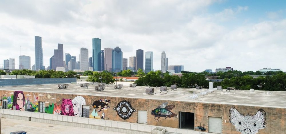 Sawyer Yards Murals and Downtown Houston.