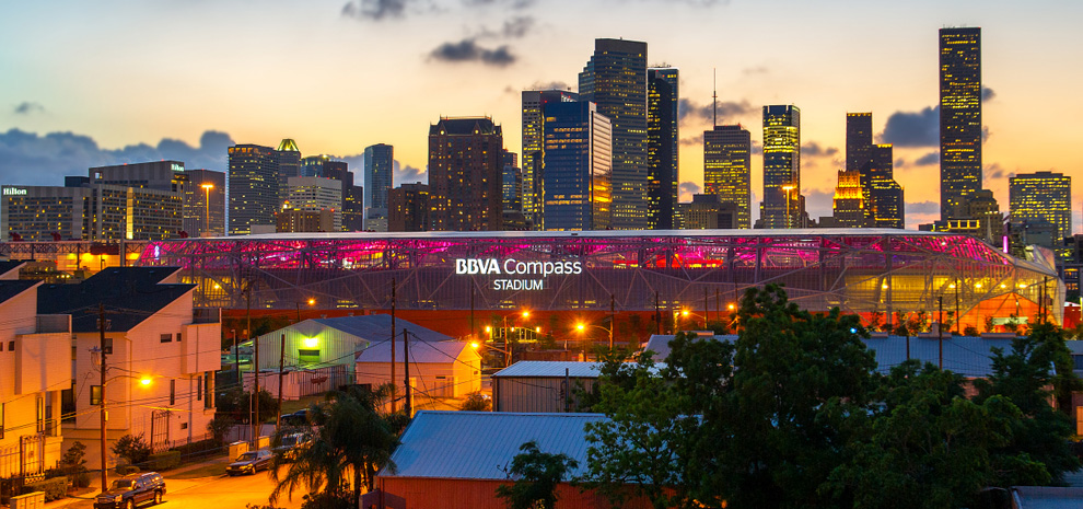BVBA Compass Stadium and downtown.
