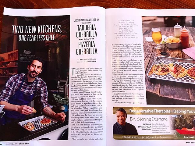 We're pretty happy about this write up with Trio Magazine. In this fall edition they put a spot light on some local people in the food scene, and we had the pleasure of being one of them.