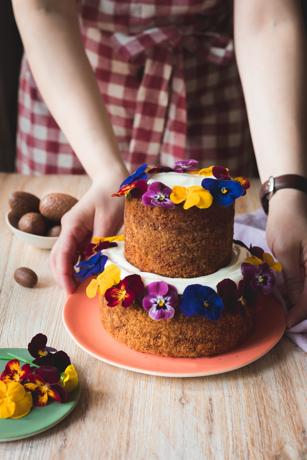 Easter carrot and pecan cake with cream cheese frosting