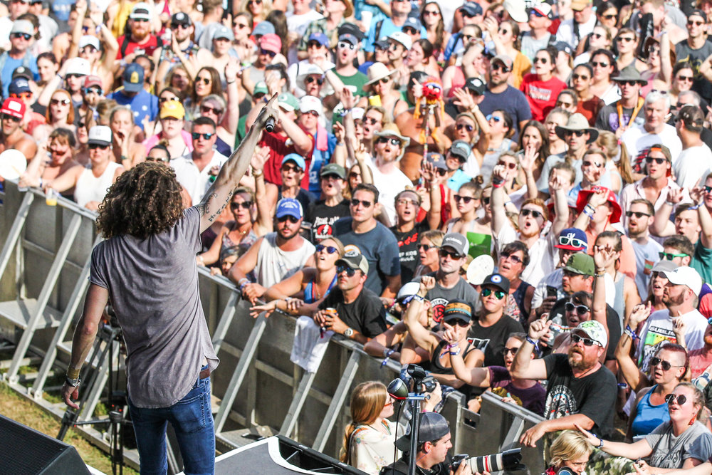 David Shaw from The Revivalists entertains the crowd at The Pilgrimage Music & Cultural Festival. Photo credit: Terry Wyatt