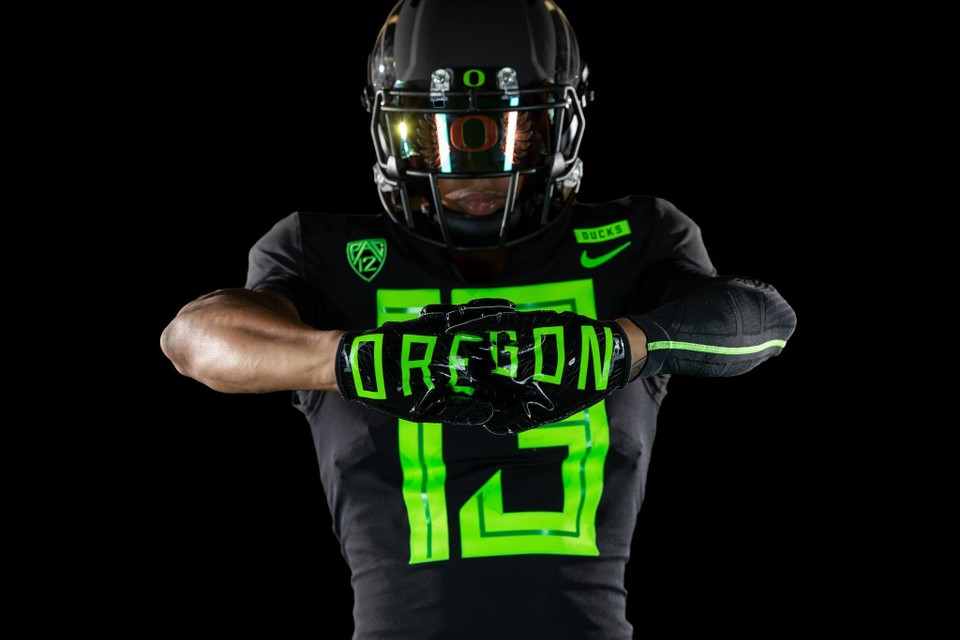 This is one of the 2018 uniforms for the University of Oregon Ducks. If you have to be a duck, at least you have a badass uniform to make up for it!