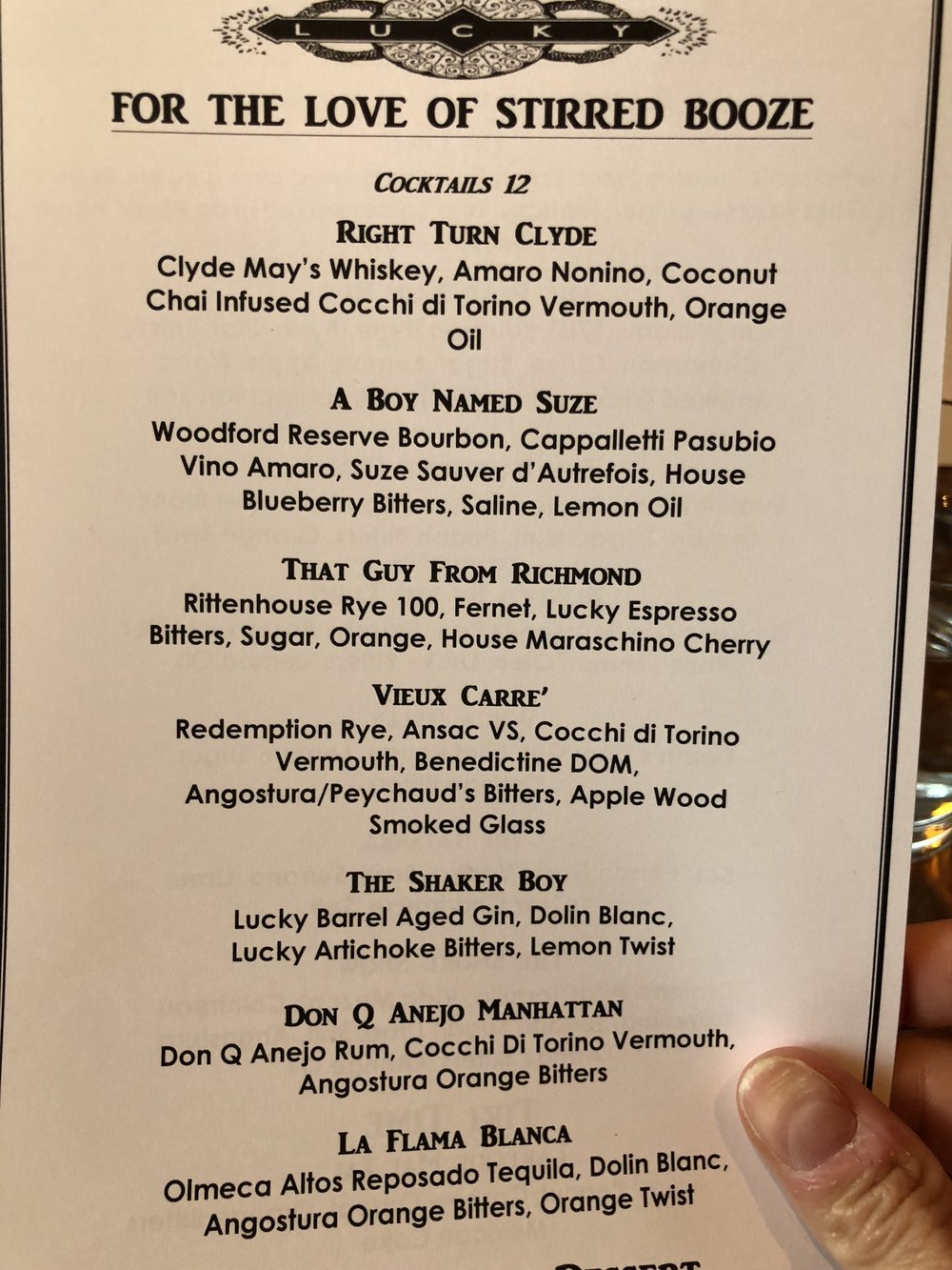 Lucky's Cocktail Menu