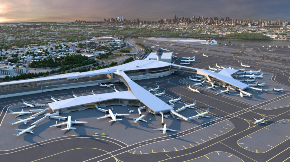 The new design incorporates pedestrian bridges that aircraft will be able to pass under making it possible for jets to access concourses from multiple directions. Image: LaGuardia Gateway Partners