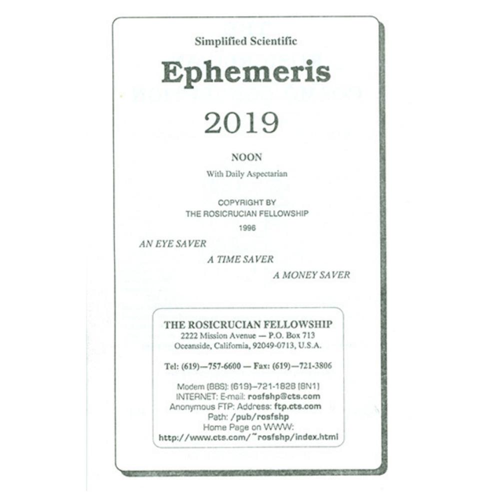 Simplified Scientific Ephemeris 2019 - $11.00