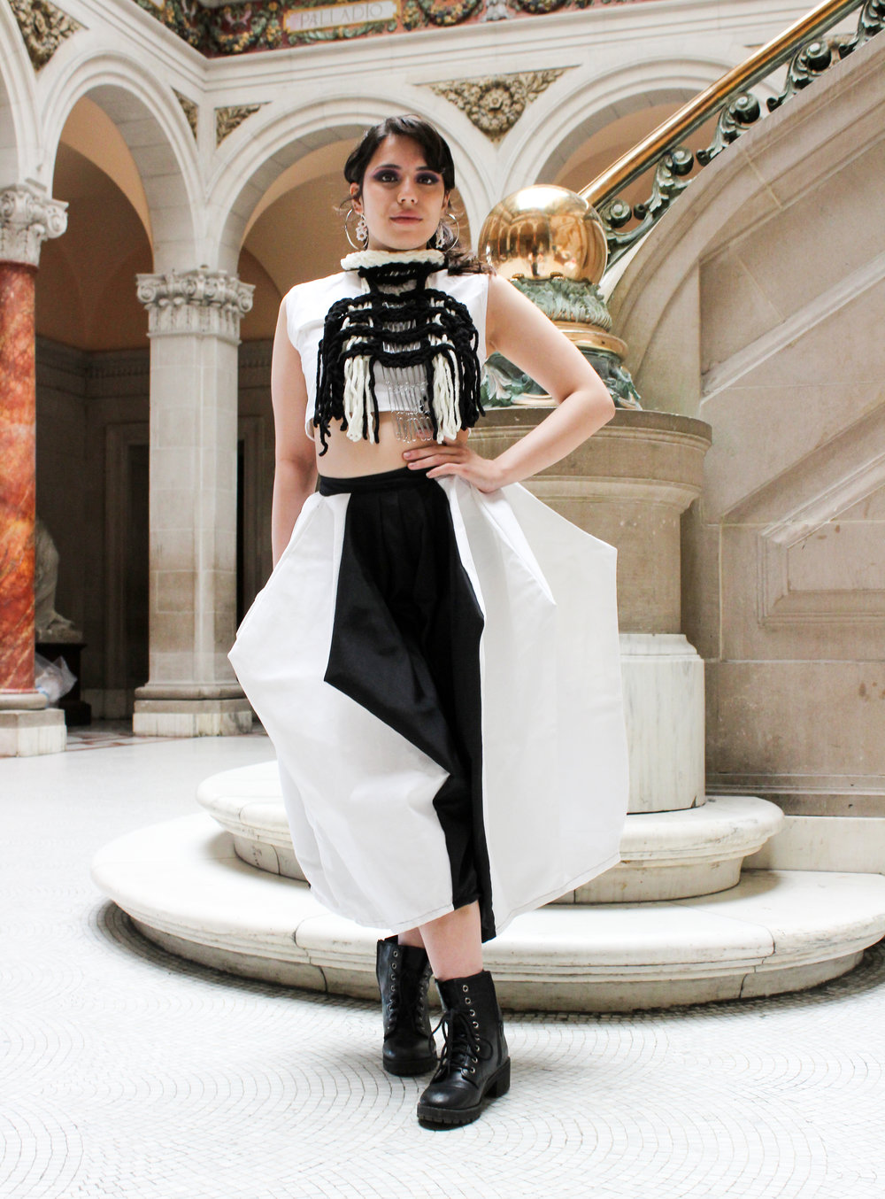 - White Crop Top (cotton)Diamond Pants (woven cotton curtain fabric, nylon)Neck Piece ( paper clips, hand-twisted staples, crochet yarn)