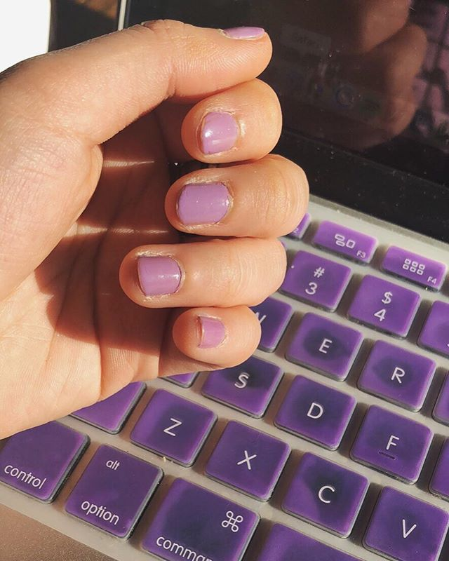 When your nails, glasses and jacket match your laptop... purple is unconsciously my fave?