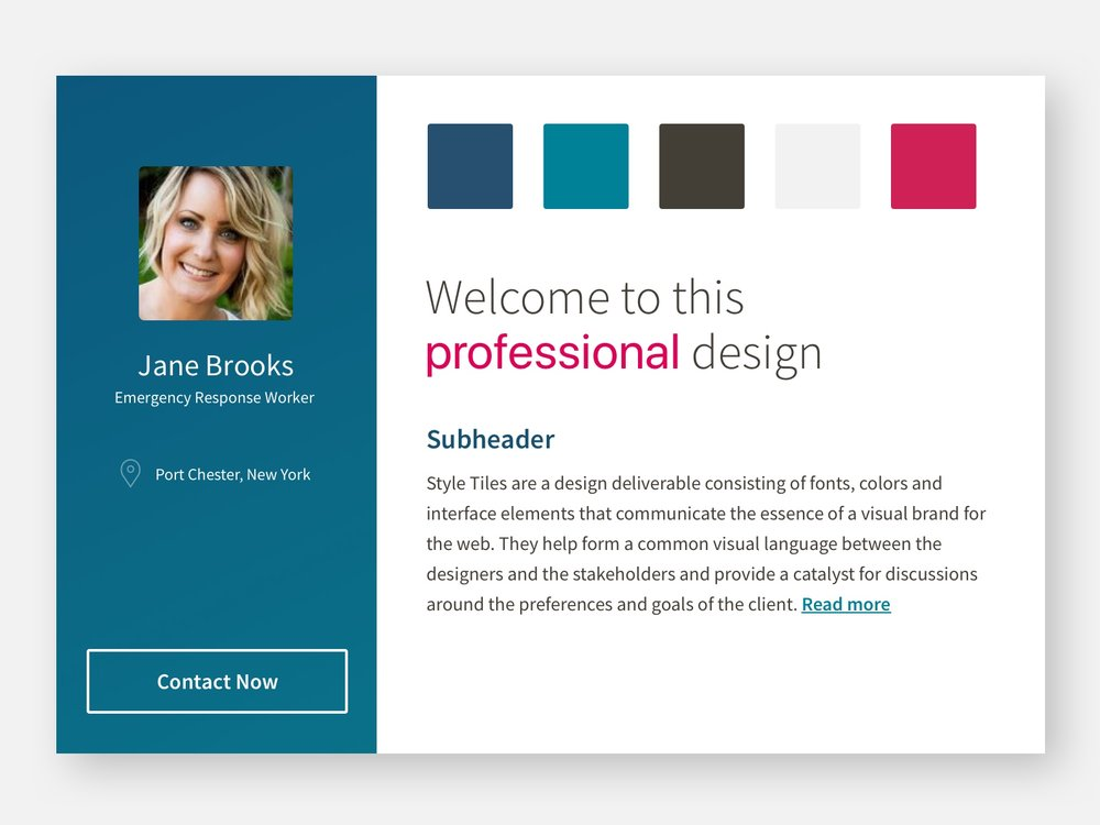 "Style Tile for Redesign | ""Professional"""