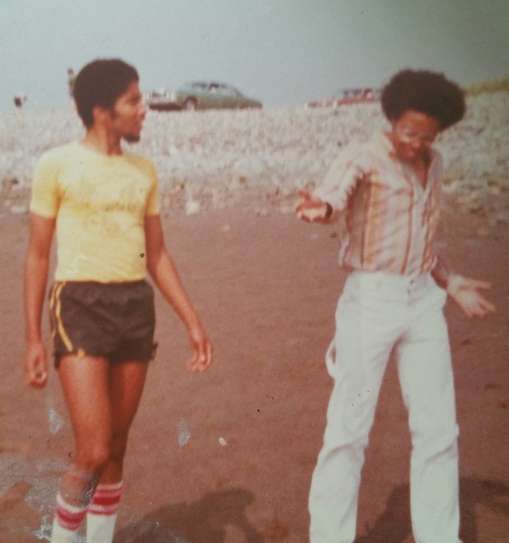 Clarke, aged 17, with brother, Bryant, Lawrencetown Beach, NS, 1977.