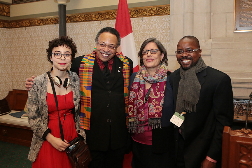 With daughter AMC, her mom JM, and poet Ama Ede, at ParliamentaryPoet Laureate official reception, Ottawa (ON), February 2016.