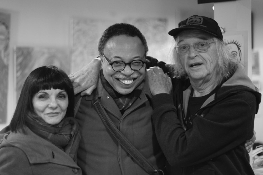 With poets Giovanna Riccio and bill bissett, Toronto,  Dec 2017.