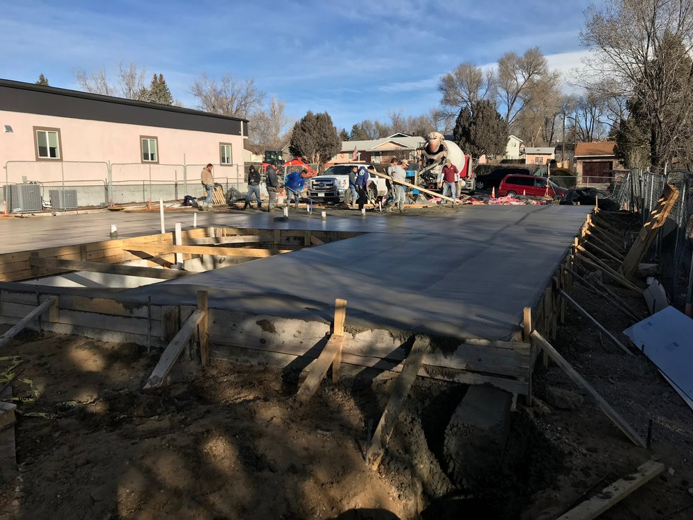 Concrete slab being poured